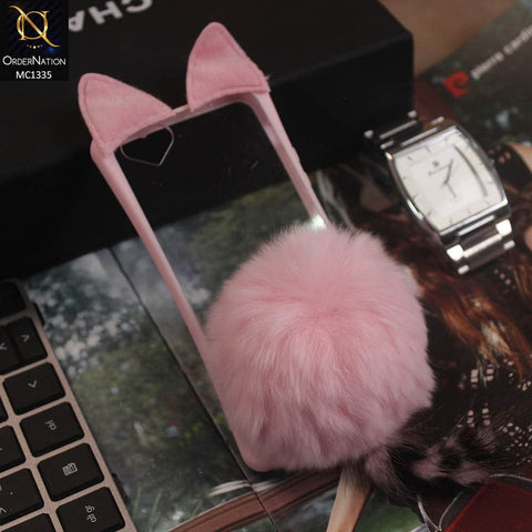 Cute Cat Pink Ear Box Winter Warm Animal Fur Clear Ball Case For iPhone 5