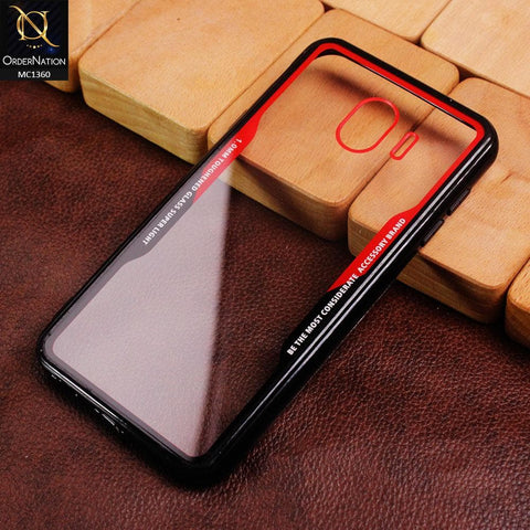 HQ Quality Back Tempared Glass Soft Borders Case For Samsung Galaxy J4 2018 - Red&Black