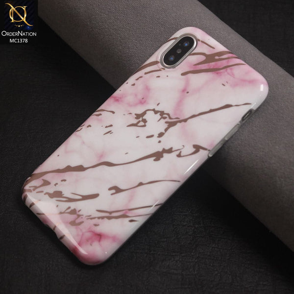 Luxury HQ Rose Chrome Plating Marble Case Color Pink For iPhone X