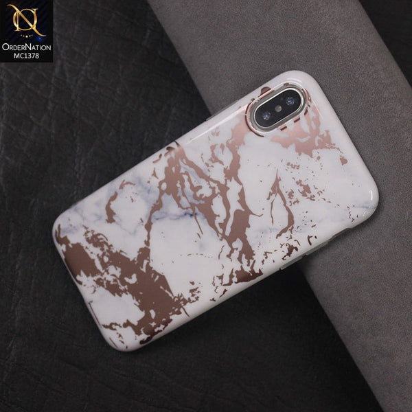 Luxury HQ Rose Chrome Plating White Marble Soft Case For iPhone x