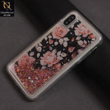 Flower Liquid Glitter Pc Hard Case Color Pink For iPhone X