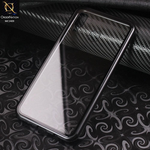 Luxury HQ Shatterproof King Magnetic Back Glass Case For Samsung Galaxy A30 - No Glass On Screen Side - Black