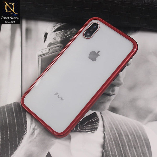 Luxury HQ Shatterproof King Magnetic Back Glass Case For iPhone X - No Glass On Screen Side - Red