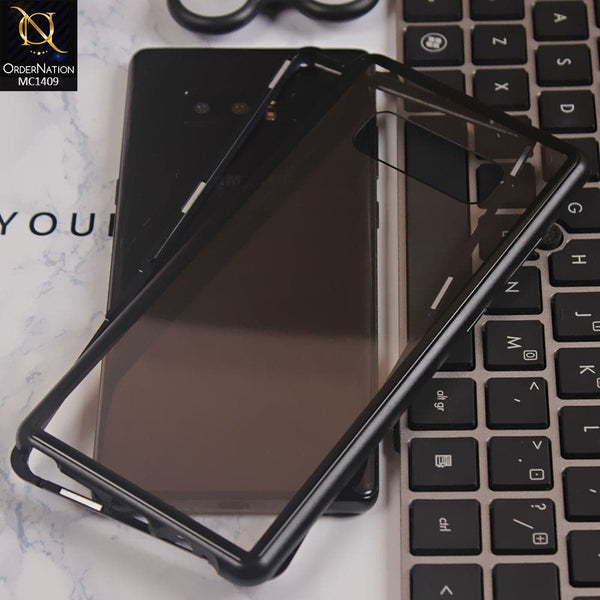 Luxury HQ Shatterproof Magnetic Back Glass Case For Samsung Note 8 - No Glass On Screen Side - Black