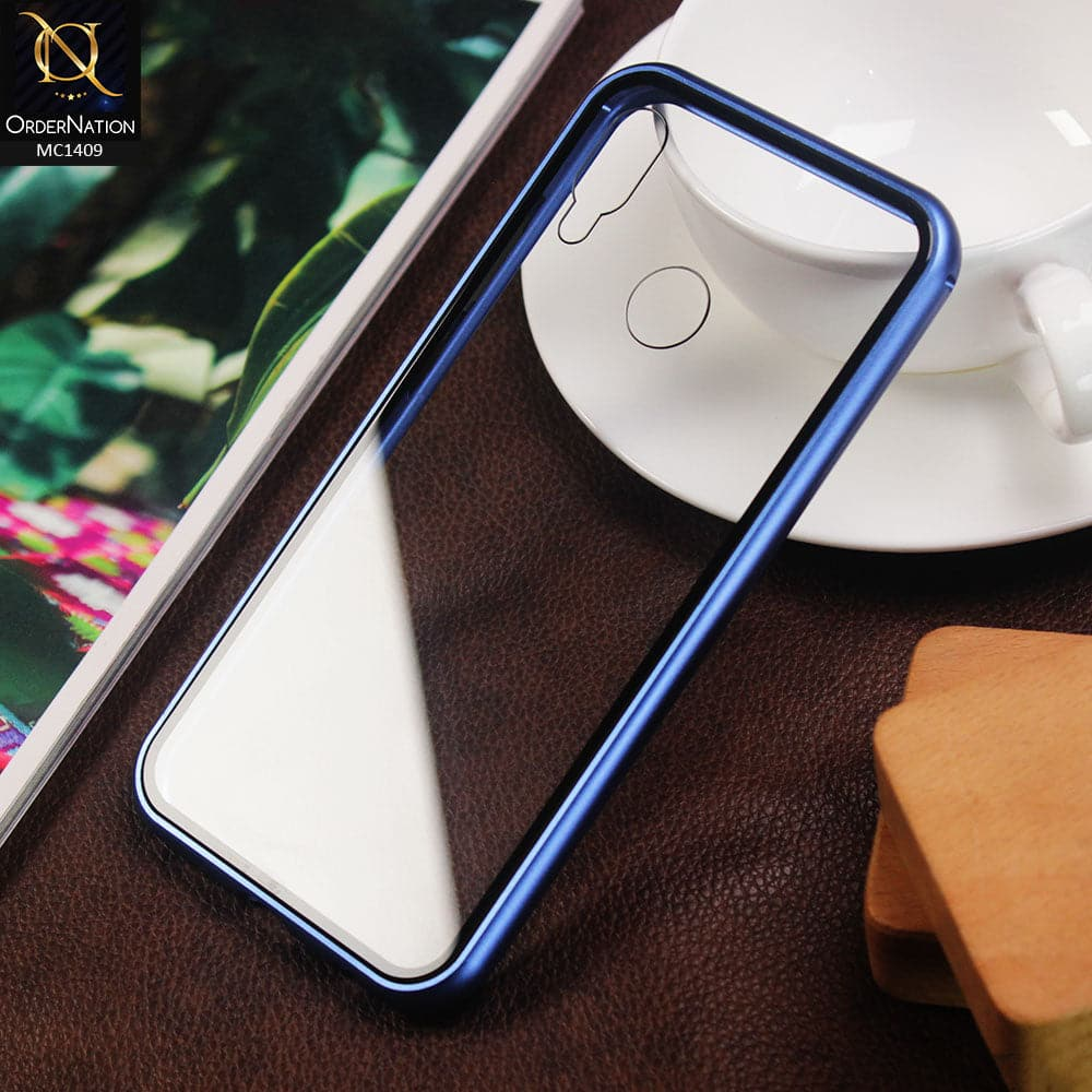Luxury HQ Shatterproof King Magnetic Back Glass Case For Huawei P20 Lite - No Glass On Screen Side - Blue