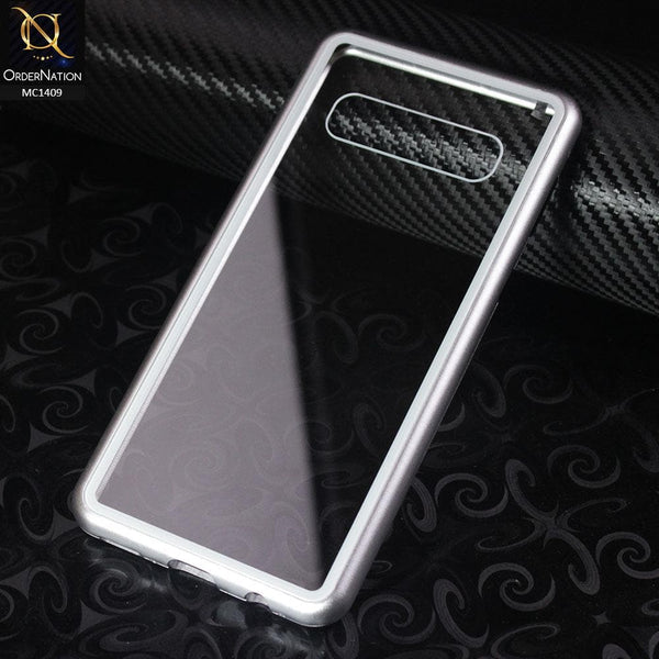 Luxury HQ Shatterproof King Magnetic Case For Samsung Galaxy S10 Plus - Silver