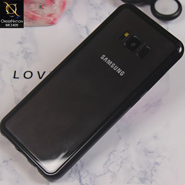 Luxury HQ Shatterproof Magnetic Back Glass Case For Samsung S8 - No Glass On Screen Side - Black