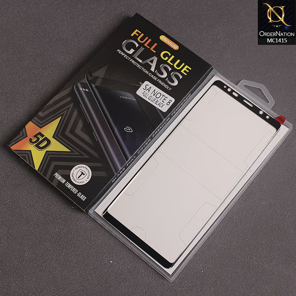 Premium Full Glue Glass 5D For Note 8 - Black