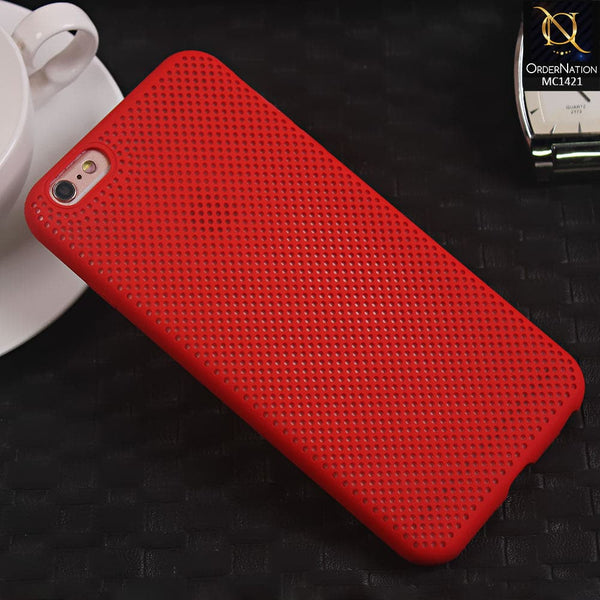 Soft Candy Doted Silica Gell Breathing Case For iPhone 6 Plus / 6s Plus - Red