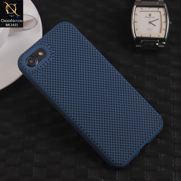 Soft Candy Doted Silica Gell Breathing Case For iPhone 8 / 7 - Navy Blue