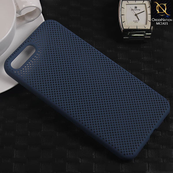 Soft Candy Doted Silica Gell Breathing Case For iPhone 8 Plus / 7 Plus - Navy Blue