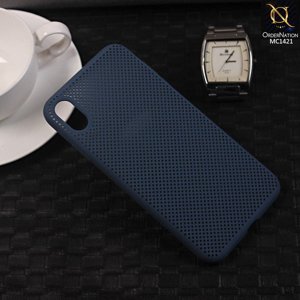 Soft Candy Doted Silica Gell Breathing Case For iPhone XR - Navy Blue