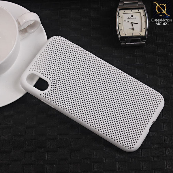 Soft Candy Doted Silica Gell Breathing Case For iPhone XR - White