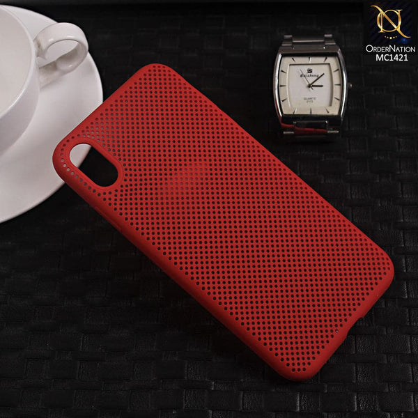 Soft Candy Doted Silica Gell Breathing Case For iPhone XS Max - Red