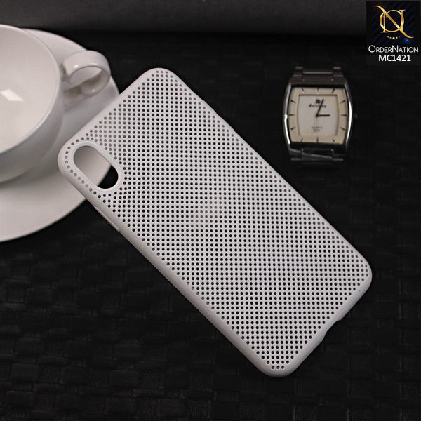 Soft Candy Doted Silica Gell Breathing Case For iPhone XS Max - White
