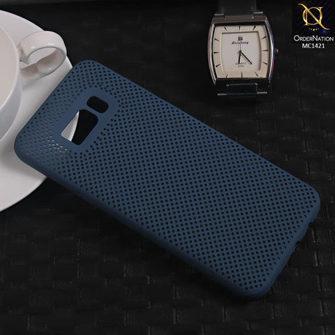 Soft Candy Doted Silica Gell Breathing Case For Samsung S8 Plus - Navy Blue