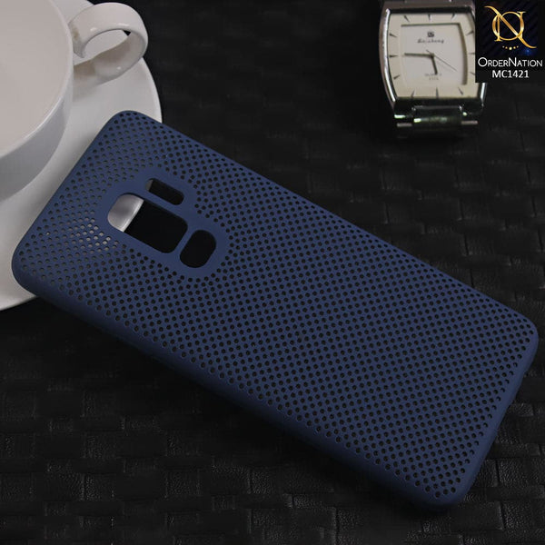 Soft Candy Doted Silica Gell Breathing Case For Samsung S9 Plus - Navy Blue