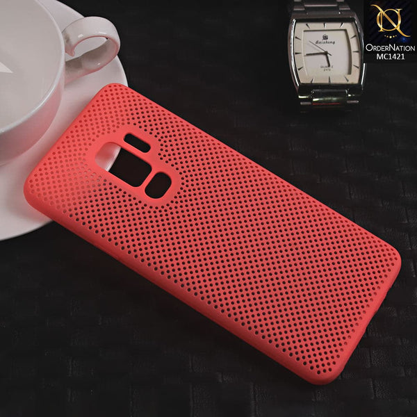 Soft Candy Doted Silica Gell Breathing Case For Samsung S9 Plus - Peach