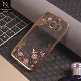 Stylish Electroplated Flowers Soft TPU Cover For Samsung Galaxy S7 - Golden