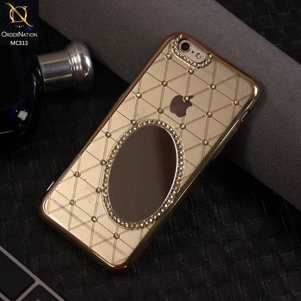Luxury Electroplated Diamond Mirror Case For iPhone 6s / 6 - Golden