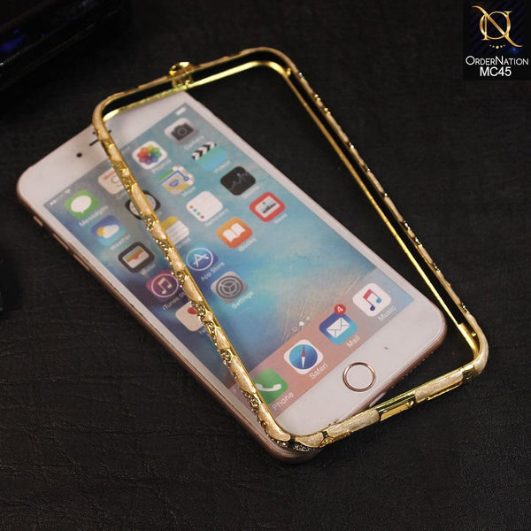 Beautiful Rhinestone Diamond Bumper For iPhone 6s Plus / 6 Plus - Golden