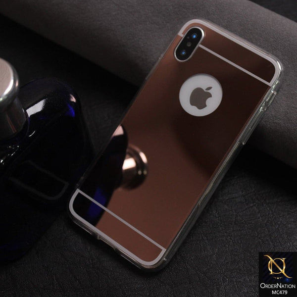 Luxury Mirror Shine Tpu Plane Simple Case Color Rose gold For iPhone x