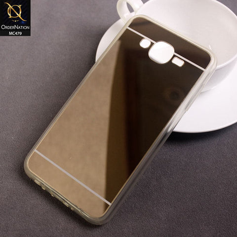 Luxury Mirror Shine Tpu Plane Simple Case For Samsung Galaxy J7 2015 - Golden