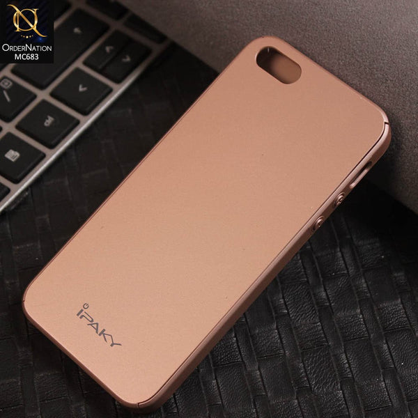 Ipaky 360 Protection Slim Fit Hybrid Luxury Bumper Cover Case (Flexible TPU + Hard Pc) For iPhone 5se / 5s / 5 - Rose Gold