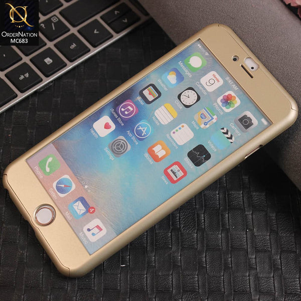 Ipaky 360 Protection Slim Fit Hybrid Luxury Bumper Cover Case (Flexible TPU + Hard Pc) For iPhone 6s Plus / 6 Plus - Golden