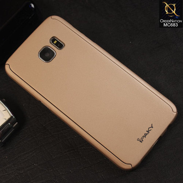 Ipaky 360 Protection Slim Fit Hybrid Bumper Cover For Samsung S7 Edge - Golden