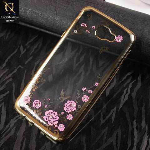 Luxury Electroplated Diamond Flower TPU Case For Samsung Galaxy J5 Prime - Golden
