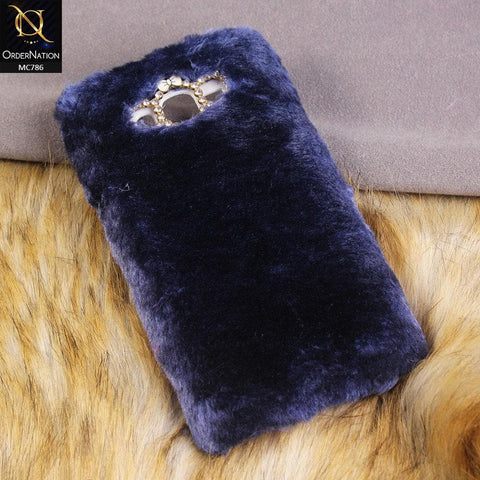 Luxury Rabbit Hair Fur Fluffy Case For Samsung Galaxy J7 2015 - Blue