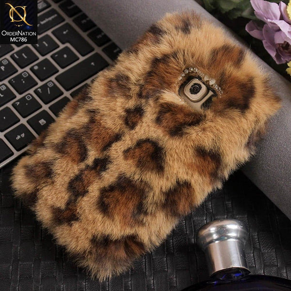 Luxury Rabbit Hair Fur Fluffy Case For Samsung Galaxy S7 - Brown