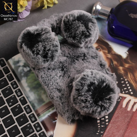 Luxury Panda Furr Hair Soft Fluffy Cover Case For Samsung Galaxy Note 5 - Grey