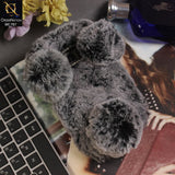 Luxury Panda Furr Hair Soft Fluffy Cover Case For Samsung Galaxy S7 Edge - Grey