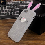 Soft 3D Cute Bunny Cartoon Case For iPhone 8 / 7 / 6S / 6 - White