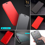 Baseus Touchable Tempered Glass Flip TPU Back Shell Case For iPhone XS Max - Red