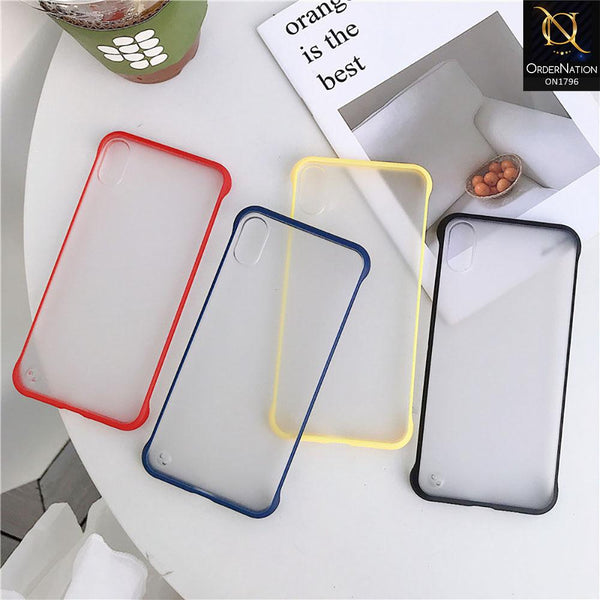 Soft Colorful  Border Semi Transparent Back Shell Case For Samsung Galaxy A51 - Blue