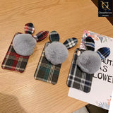 Stylish Cute British Plaid Ear Hair Ball Case For iPhone 8 / 7 - Blue
