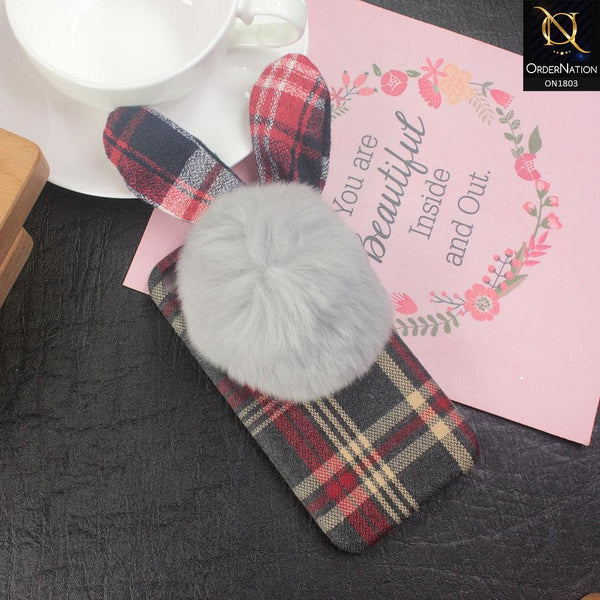Stylish Cute British Plaid Ear Hair Ball Case For iPhone 8 / 7 - Red