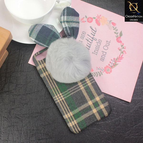 Stylish Cute British Plaid Ear Hair Ball Case For iPhone 8 Plus / 7 Plus - Green
