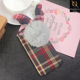 Stylish Cute British Plaid Ear Hair Ball Case For iPhone 8 Plus / 7 Plus - Red