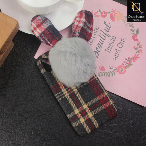 Stylish Cute British Plaid Ear Hair Ball Case For iPhone XS / X - Red