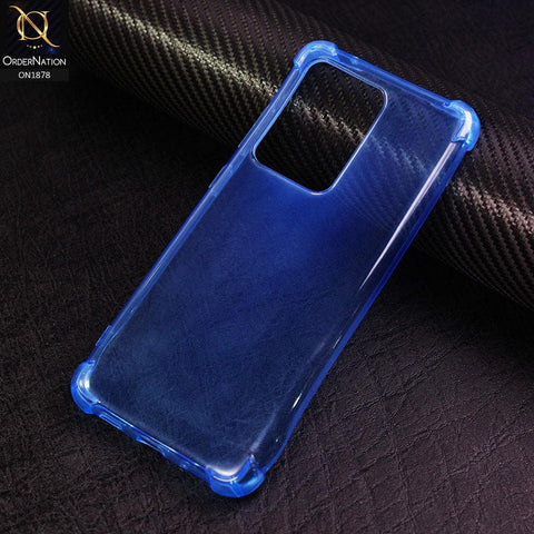 Samsung Galaxy S20 Ultra Cover - Blue - Soft 4D Design Shockproof Silicone Transparent Clear Case