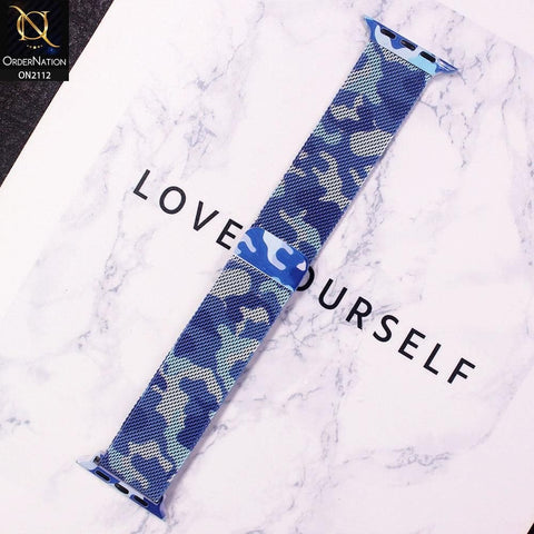 Apple Watch Strap Compatible 40/38mm - Camouflage Blue - Metal Silk Magnetic Watch Starp