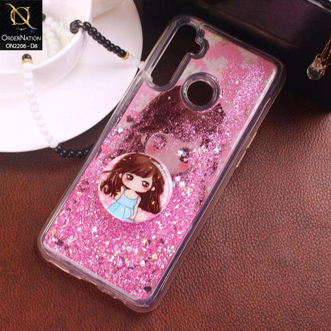 Realme 5 Cover - Design 8 - New Elegant Liquid Glitter Soft Borders Case With Pop Socket Holder