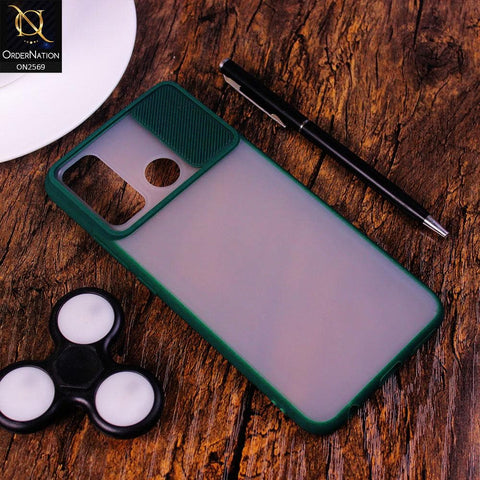 Infinix Hot 9 Pro Cover - Green - Translucent Matte Shockproof Camera Slide Protection Case