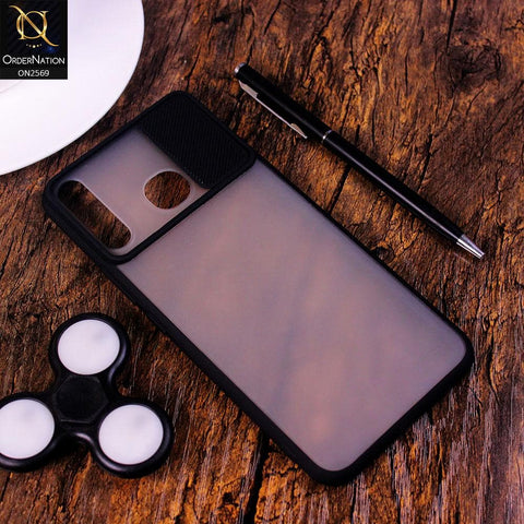 Tecno Spark 4 Cover - Black - Translucent Matte Shockproof Camera Slide Protection Case