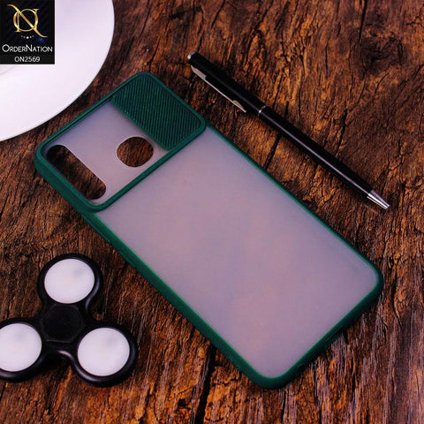 Tecno Camon 12 Cover - Green - Translucent Matte Shockproof Camera Slide Protection Case