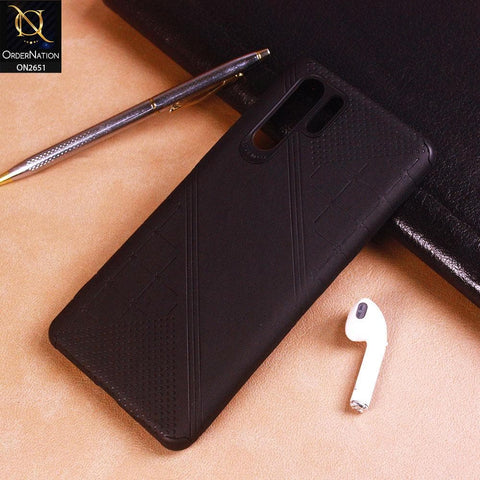 Huawei P30 Pro Cover - Black - Soft Stylish Leather Look Curved Line Case